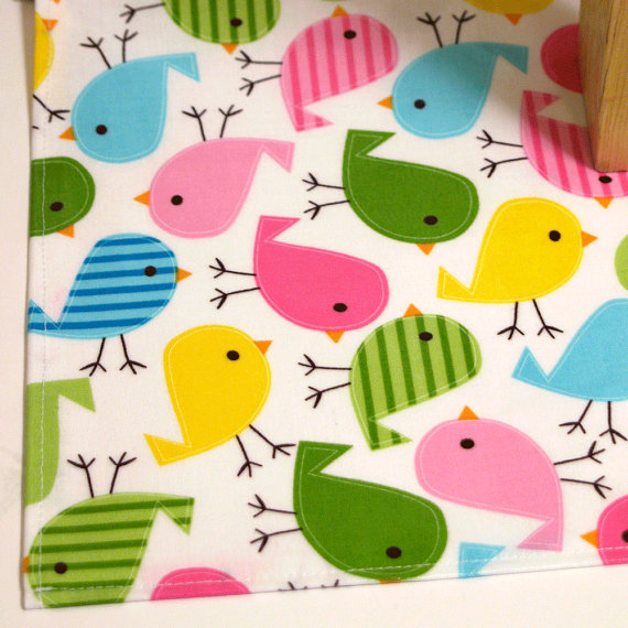 Laminated Cotton Oilcloth Splat Mat (bright birds on white background- Robert Kaufman Urban Zoologie)