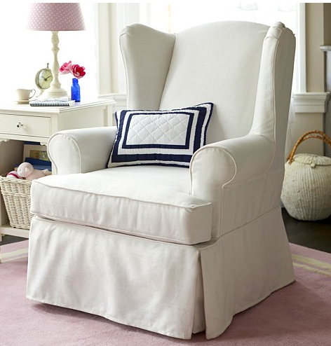 Pottery Barn Slipcovered Wingback Glider