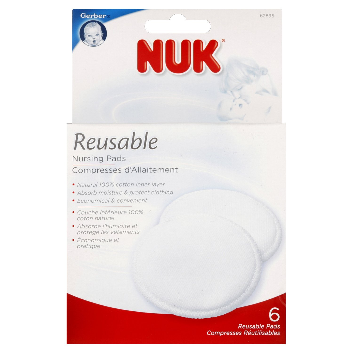 NUK Reusable Nursing Pads, 6 Pack